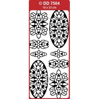 3D Ovals Medallion (Mandala) Outline Stickers
