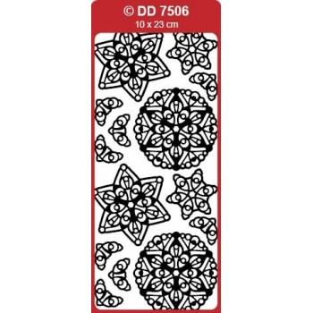 3D Snow Stars Medallion (Mandala) Outline Stickers