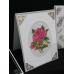Sticker, Double Embossed Rose Blooms on Stems