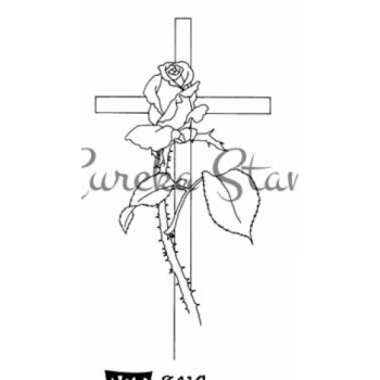 Sm Cross with Rose Stamp