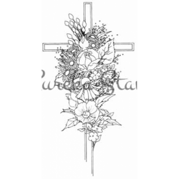 Cross with Flowers Stamp