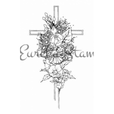Sm Cross with Flowers Stamp