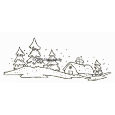 Snowy Cabin Stamp