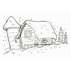 Snowy Barn Stamp