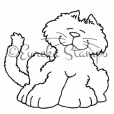 White Leaning Cat Stamp