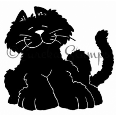 Black Leaning Cat Stamp