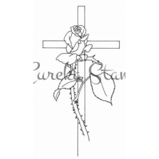 Lg Cross with Rose Stamp