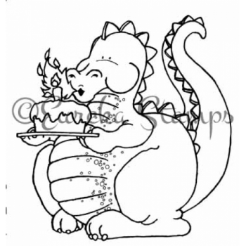 Dragon Blowing Candles Stamp