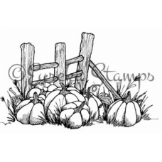 Pumpkins and Fence Stamp