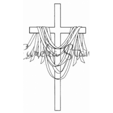 Sm Draped Cross with Ribbons Stamp
