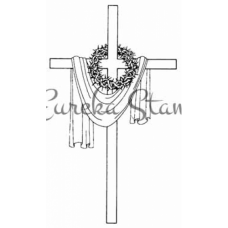 Sm Draped Cross with Thorns Stamp