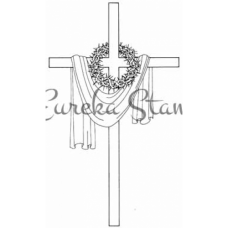 Lg Draped Cross with Thorns Stamp
