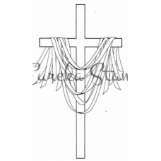 Lg Draped Cross with Ribbons Stamp