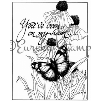 On My Heart Butterfly and Daisy Framed Stamp  ES-55901T