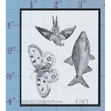 Butterfly Fish Bird Unmounted Stamp