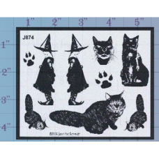 Witches and Cats Unmounted Stamp