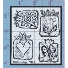 Heart Butterfly Sun Unmounted Stamp