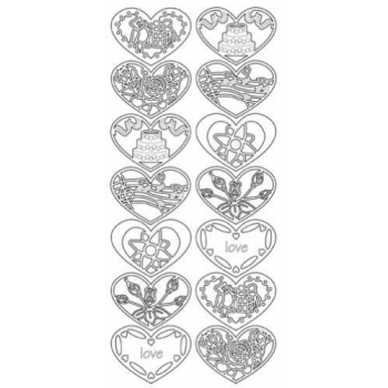 Assorted Heart Designs Outline Stickers