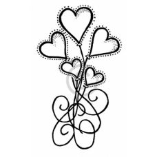 Balloon Hearts Cling Stamp