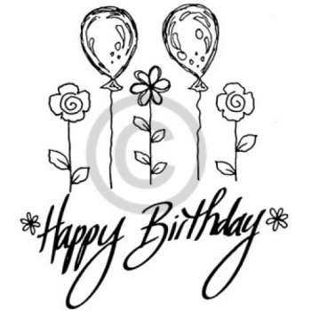 Balloons Happy Birthday Cling Stamp