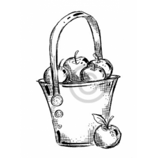 Basket Of Apples Cling Stamp