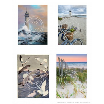 Beach Scenes 1, Vintage Art Acetates