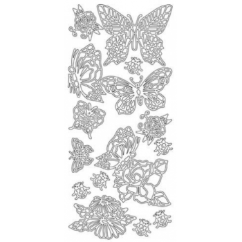 Butterflies and Flowers Outline Stickers
