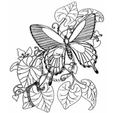 Butterfly in Leaves Cling Stamp