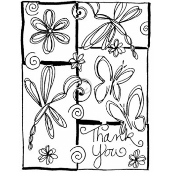 Butterfly Thank You Cling Stamp
