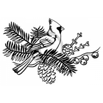 Cardinal on a Branch Cling Stamp