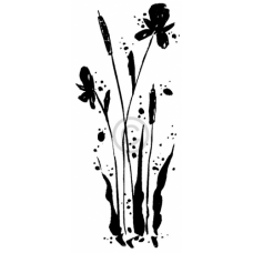 Cattails with Flowers Cling Stamp