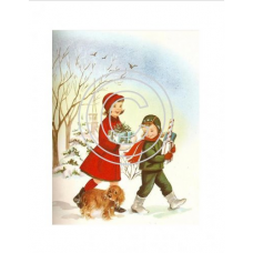Christmas Kids, Vintage Art Acetate