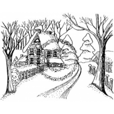 Country Scene Cling Stamp