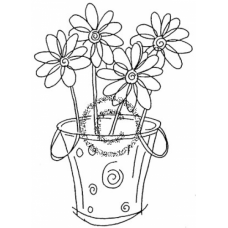 Daisy Basket Cling Stamp