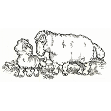 Ewe and Lamb Digital Stamp
