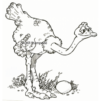 Ostrich and Egg Digital Stamp