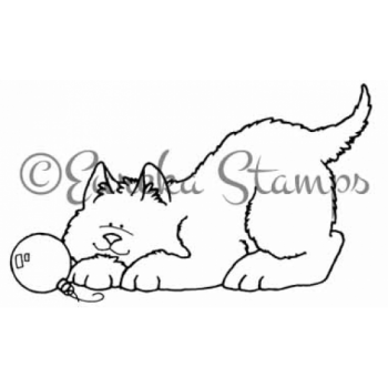 Cat and Ornament Digital Stamp