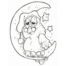 Sleepy Owl Digital Stamp