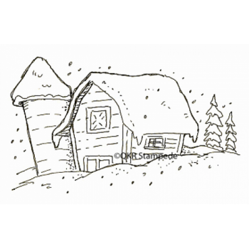 Snowy Barn Digital Stamp