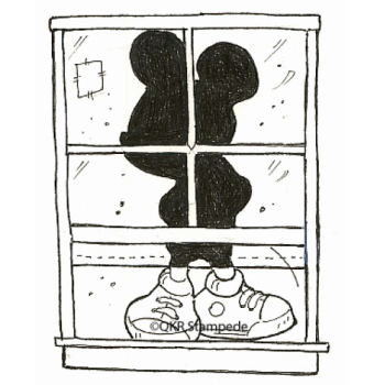 Boy in Window Digital Stamp