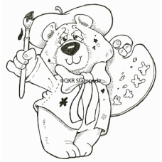 Artist Bear Digital Stamp
