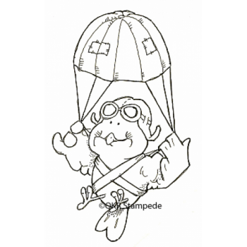 Parachuting Birdie Digital Stamp