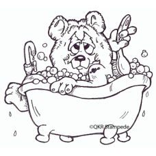 Bathing Bear Digital Stamp