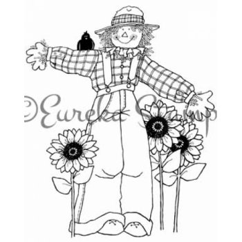Scarecrow and Sunflowers Digital Stamp