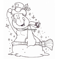 Windy Snowman Digital Stamp