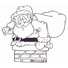 Santa in Chimney Digital Stamp