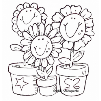 Smiling Flowers Digital Stamp