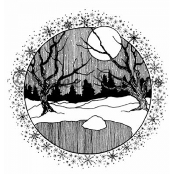 Snow Scene Circle Digital Stamp