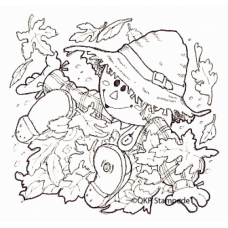 Scarecrow and Leaves Digital Stamp