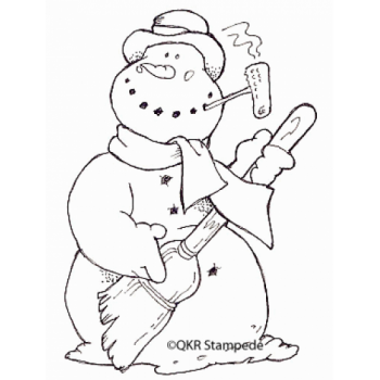 Air Guitar Snowman Digital Stamp